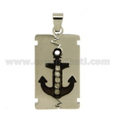 PENDANT RECTANGULAR MM 34X17 STEEL WITH STILL PLATED RUTHENIUM AND ZIRCONIA