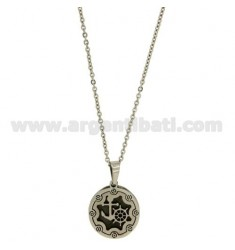 CHARM ROUND WITH STILL IN STEEL 20 MM CHAIN CABLE 50 CM