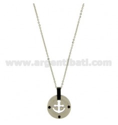 CHARM ROUND WITH STILL IN STEEL 20 MM AND INSERTS CLAD RUTHENIUM CHAIN CABLE 50 CM