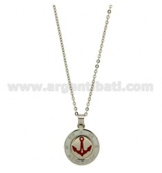 PENDANT STILL GLAZED RED 20 MM STEEL CABLE WITH CHAIN 50 CM