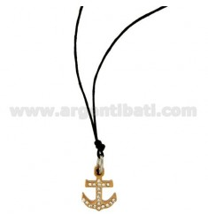 PENDANT STILL IN STEEL PLATED ROSE GOLD WITH ZIRCONIA WHITE AND LACE SILK CERATA
