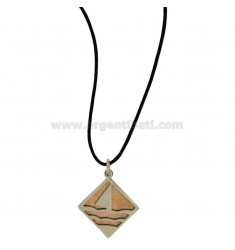 RUMBLE IN STEEL PENDANT WITH SAIL AND ELEMENTS PLATED ROSE GOLD SATIN WITH LACE SILK CERATA