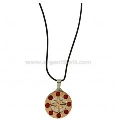 CHARM ROSE OF THE WINDS IN STEEL PLATED ROSE GOLD WITH STONES COLOR CORAL AND LACE SILK CERATA