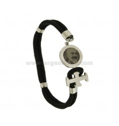 BRACELET IN BLACK ROPE WITH CLOSING IN STEEL WITH HOLY Pio of Pietrelcina