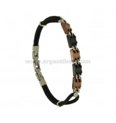 STEEL BRACELET WITH ROSE GOLD PLATED ELEMENTS AND RUTHENIUM WITH ROPE BLACK