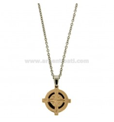 CHARM ROUND 21 MM STEEL PLATED ROSE GOLD ROSE OF THE WINDS AND INSERTS ENAMELLED BLACKS WITH CHAIN CABLE 50 CM