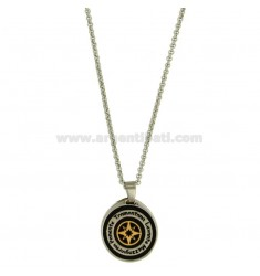 CHARM ROUND 21 MM STEEL INSERTS AND ROLLED RUTENIO ROSA DEIVENTI CENTRAL PLATED GOLD CHAIN ROLO &39CM 50