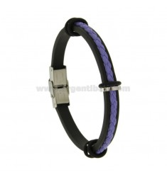 RUBBER BRACELET WITH PURPLE BRAIDED LEATHER WIRE AND STEEL CLOSURE