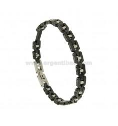 Armband aus schwarzer Keramik und der Stahlplatte 3 MM