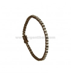 BRACCIALE TENNIS IN METALLO PLACCATO BROWN CM 18 CON ZIRCONI MM 3 BIANCHI