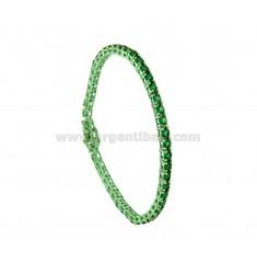 BRACCIALE TENNIS IN METALLO PLACCATO GREEN CM 18 CON ZIRCONI MM 3 COLORE VERDE