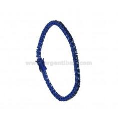 BRACCIALE TENNIS IN METALLO PLACCATO BLUE CM 18 CON ZIRCONI MM 3 COLORE BLU