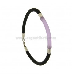 BLACK AND PURPLE TUBULAR RUBBER BRACELET 3 MM WITH STEEL INSERTS AND CLOSURE