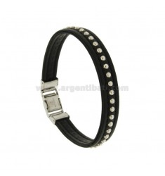 BRACELET BLACK LEATHER 10 MM WITH BALLS AND CLOSING IN STEEL
