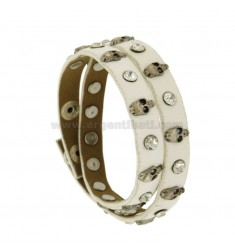 BRACELET IN WHITE LEATHER AND STEEL WITH SKULLS AND CRYSTAL