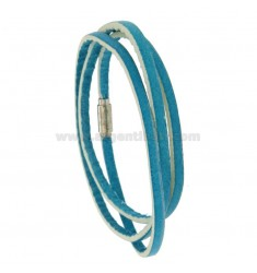 BRACELET AROUND IN COLORED BLUE LEATHER WITH CLOSURE METAL
