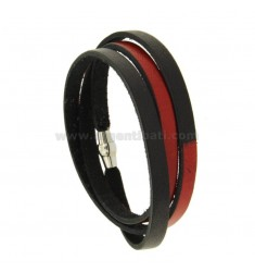 BRACELET AROUND LEATHER COLORED BLACK AND RED WITH CLOSURE METAL