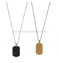 DOUBLE MILITARY MM PLATED 30x20 26x15 RUTHENIUM AND STEEL WITH ZIRCON ROSE GOLD PLATED DOUBLE CHAIN AND CABLE 50 CM