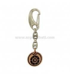 KEY RING RUDDER 20 MM STEEL PLATED ROSE GOLD PLATED ELEMENTS RUTENIO