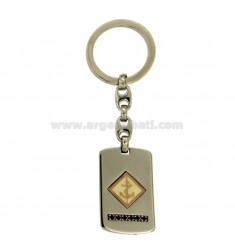 KEY RING 35x20 MM STEEL PLATE WITH POLISH WHITE STILL INCISA PLATED ROSE GOLD AND ZIRCONIA BLACKS