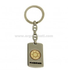 KEY RING 35x20 MM STEEL PLATE WITH POLISH WHITE SUN ENGRAVED PLATED ROSE GOLD AND ZIRCONIA BLACKS