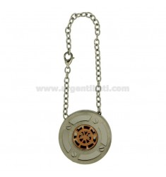 KEY RING ROUND 30 MM STEEL RUDDER WITH ROSE GOLD PLATED