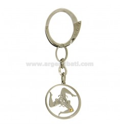 KEY RING TRINACRIA STEEL 27 MM WITH POINT Bilamina BRASS AND GOLD