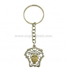 MEDUSA KEY RING IN STEEL AND INSERTS BILANINA BRASS AND GOLD