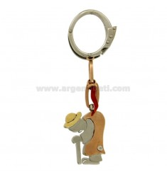 GOBBO CORAL KEY RING IN STEEL AND GOLD TIT 75%