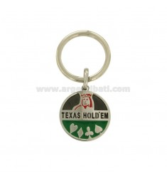 KEY RING ROUND 30 MM STEEL SEMI WITH PLAYING CARDS AND GLAZE