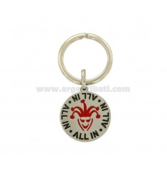 ROUND KEY RING MM 30 IN STEEL WITH &quotJOLLY&quot PLAYING CARD AND ENAMEL