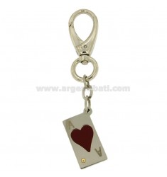 KEY RING RECTANGULAR MM 32X17 STEEL WITH PAPER GAME AND GLAZE