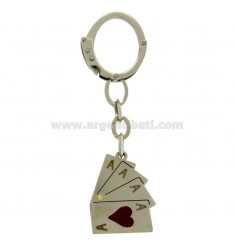 KEY RING IN STEEL WITH PLAYING CARDS AND GLAZE