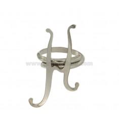 Ring einstellbar H LETTER Silber rhodiniert TIT 925 ‰