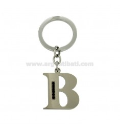 LETTER B KEY RING IN STEEL 35 MM WITH BLACKS ZIRCONIA