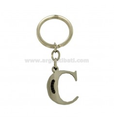 KEY RING LETTER C STEEL 35 MM WITH BLACKS ZIRCONIA