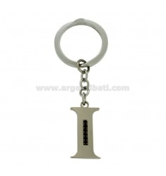 KEY RING LETTER I STEEL 35 MM WITH BLACKS ZIRCONIA