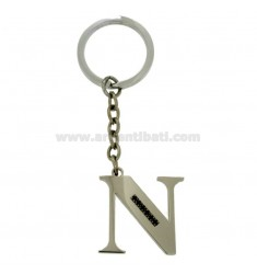 KEY RING LETTER N STEEL 35 MM WITH BLACKS ZIRCONIA
