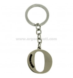 KEY RING LETTER OR STEEL 35 MM WITH BLACKS ZIRCONIA