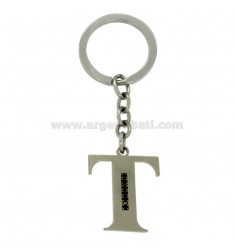 KEY RING LETTER T STEEL 35 MM WITH BLACKS ZIRCONIA