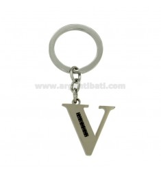 KEY RING LETTER V STEEL 35 MM WITH BLACKS ZIRCONIA