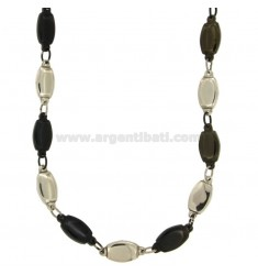 NECKLACE STEEL TWO TONE PLATED RUTENIO MM 20X8 CM 50