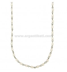 NECKLACE SPHERES 3 MM 50 CM IN WHITE AGATE WITH PARTITIONS AND CLOSING IN STEEL