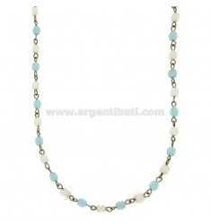 NECKLACE SPHERES MM 3 CM 50 AGATE WHITE AND BLUE WITH PARTITIONS AND CLOSING IN STEEL