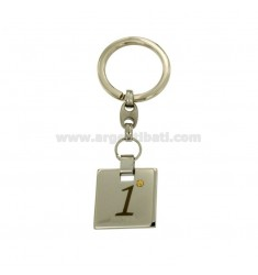 KEY RING 22x22 MM SQUARE WITH WRITTEN 1 PLATED ROSE GOLD DOT Bilamina IN BRASS AND GOLD