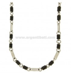 NECKLACE STEEL MESH SPECIAL TWO.TONE PLATED RUTENIO CM 50