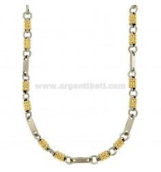 NECKLACE STEEL MESH SPECIAL TWO.TONE GOLD PLATED 50 CM