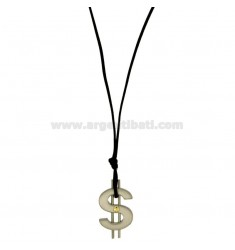 CHARM SYMBOL DOLLAR STEEL WITH POINT Bilamina BRASS AND GOLD WITH LACE SILK CERATA