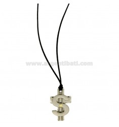 CROSS PENDANT WITH DOLLAR SYMBOL STEEL POINT Bilamina BRASS AND GOLD WITH LACE SILK CERATA
