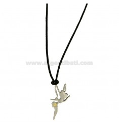 Pendant FAIRY MM 30X11 STEEL WITH POINT Bilamina BRASS AND GOLD WITH LACE SILK CERATA